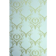Barneby Gates tapetai Deer Damask - Duck egg blue / Antique Gold