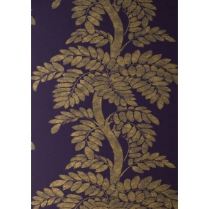 "Anna French tapetai ""Wisteria"" – Brown/Gold on Violet"