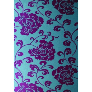 "Anna French tapetai ""Regal"" – Magenta Mica on Petrol Blue"