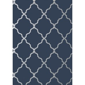 "Anna French tapetai ""Klein Trellis"" – Silver on Navy"