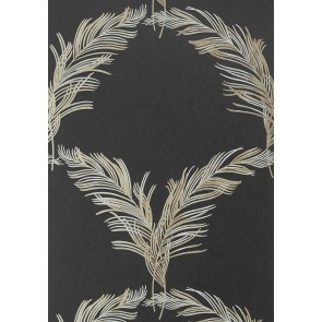 "Anna French tapetai ""Plumes"" – Metallic Pewter on Black"