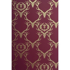 Barneby Gates tapetai Deer Damask - Claret / Gold