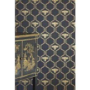 Barneby Gates tapetai HONEY BEES- Gold on Charcoal