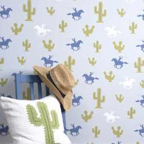 "Hibou Home tapetai ""Cactus Cowboy"" – Grey/Blue/Green"