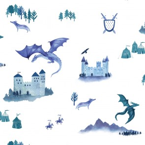 "Hibou Home tapetai ""Castles and Dragons"" – Inky Blue"