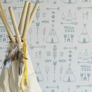 "Hibou Home tapetai ""Teepees"" Storm Green/Grey"