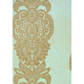 "Thibaut tapetai ""Rowan Damask"" - Metallic Gold on Aqua"