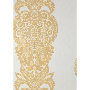"Thibaut tapetai ""Rowan Damask"" - Metallic Gold on Silver"