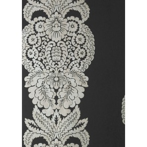 "Thibaut tapetai ""Rowan Damask"" - Metallic Silver on Black"