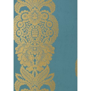 "Thibaut tapetai ""Rowan Damask"" - Metallic Gold on Peacock"
