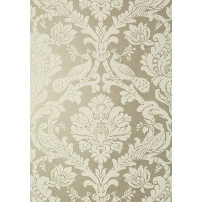 "Thibaut tapetai ""Passaro Damask"" - Cream on Metallic Pewter"