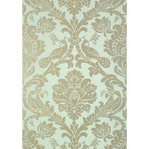 "Thibaut tapetai ""Passaro Damask"" - Metallic Pewter on Seafoam"
