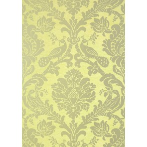 "Thibaut tapetai ""Passaro Damask"" - Metallic Silver on Citron"