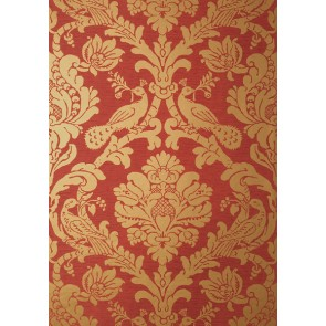 "Thibaut tapetai ""Passaro Damask"" - Metallic Gold on Red"